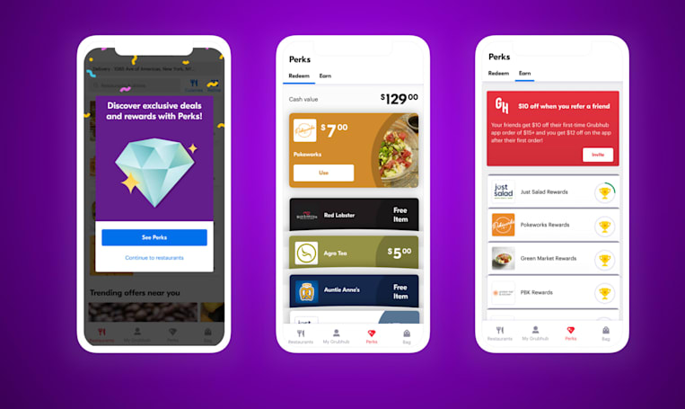 GrubHub launches Perks tab for food discounts