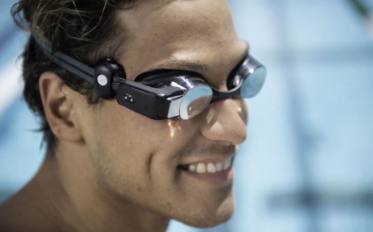 Form's Swim Goggles display heart rate data in the pool