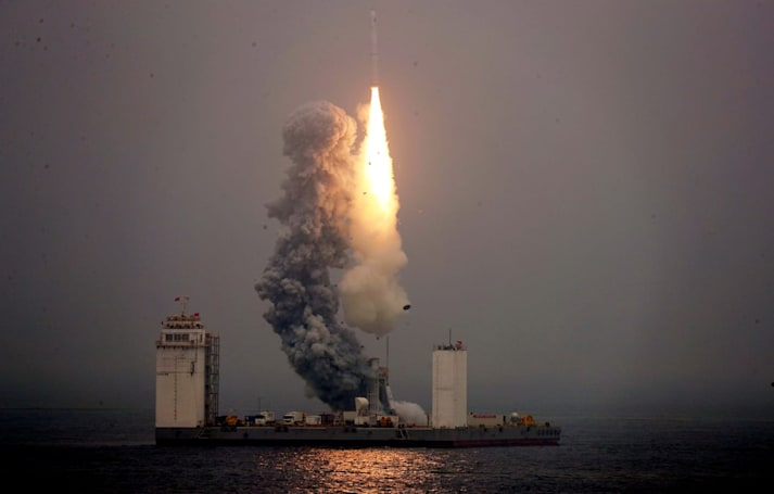 China launches a rocket from a ship for the first time