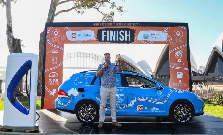 'World's longest' electric car trip ends in Australia