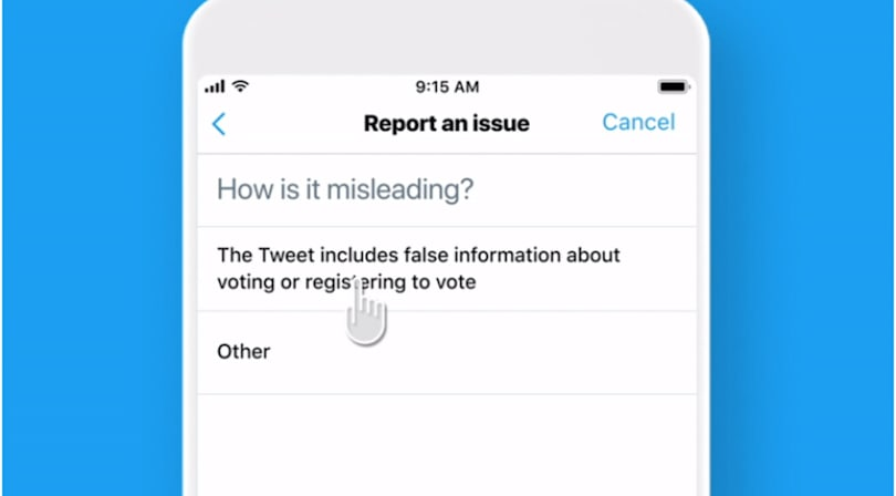 Twitter makes it easier to report election tweets that deliberately mislead people