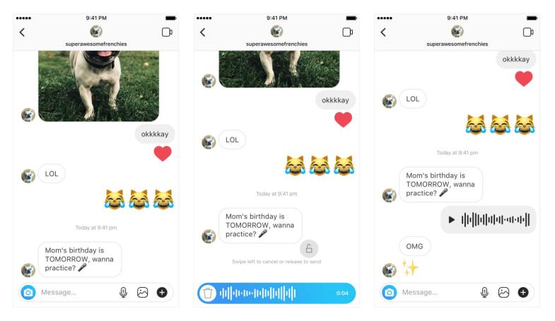 Instagram 也加入对讲机式的录音功能