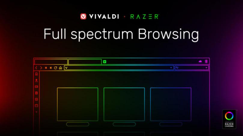 Vivaldi 瀏覽器會懂得與 Razer Chroma 燈光連動變色