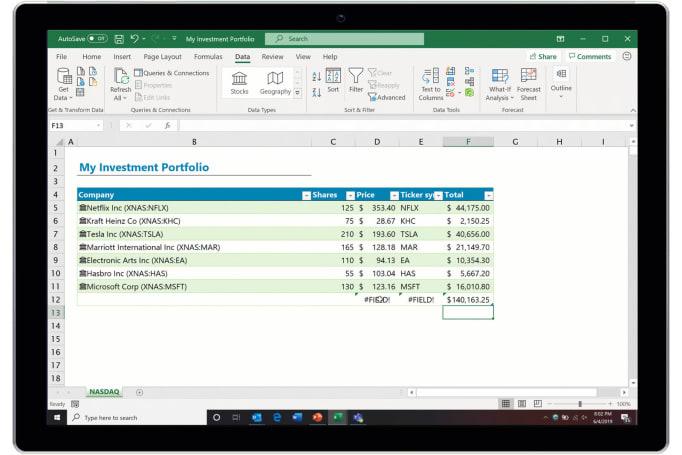微软让 Excel 变成实时股票分析工具