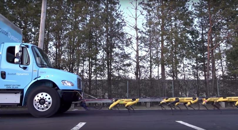 Boston Dynamic 的 SpotMini 机器人们力量大到足以拖动卡车