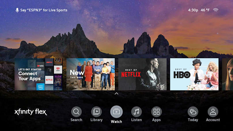 Comcast launches Xfinity Flex internet streaming TV