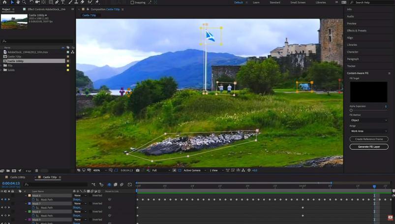 Adobe 的 After Effects 現在可以去掉影像中不必要的元素了
