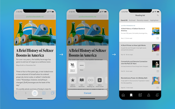 You can bookmark stories all over the web with 'Save to Medium'