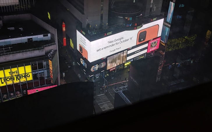 Google stuck a giant coral Pixel 4 ad in Times Square