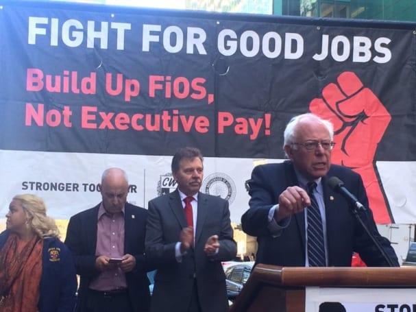 Bernie Sanders joins Verizon union workers' picket in NYC