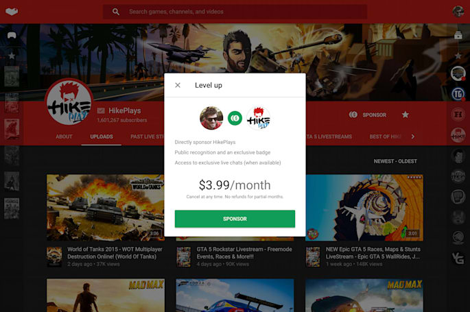Throw money at YouTube Gaming stars each month with sponsorships