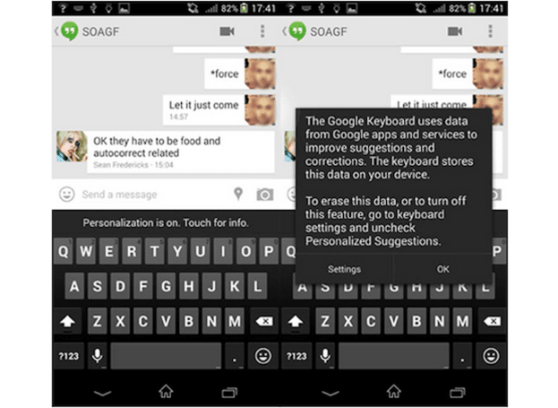 Google 键盘现在懂得从用户的其他 Google 服务取得数据,改善自动修正功能