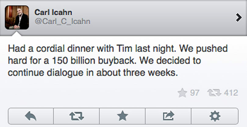 Carl Icahn reportedly pushed Tim Cook for $150B Apple share buyback