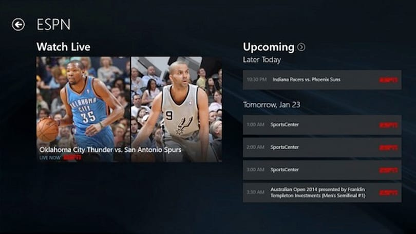 WatchESPN app 終於在 Windows Store 上現身