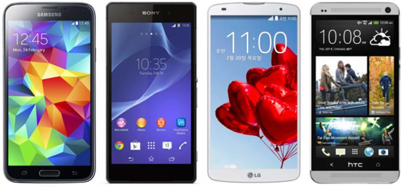 Samsung Galaxy S5 及其它厂商的 Android 旗舰机型对比
