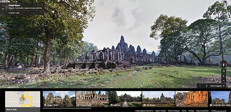 Explore the ancient temples of Angkor Wat through Google Street View