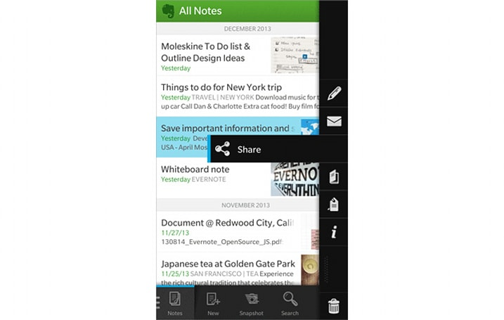 Evernote for BlackBerry 10 updated with sharing, offline notebooks and more