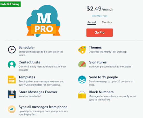 MightyText Android app goes Pro, adds extra features for monthly cost