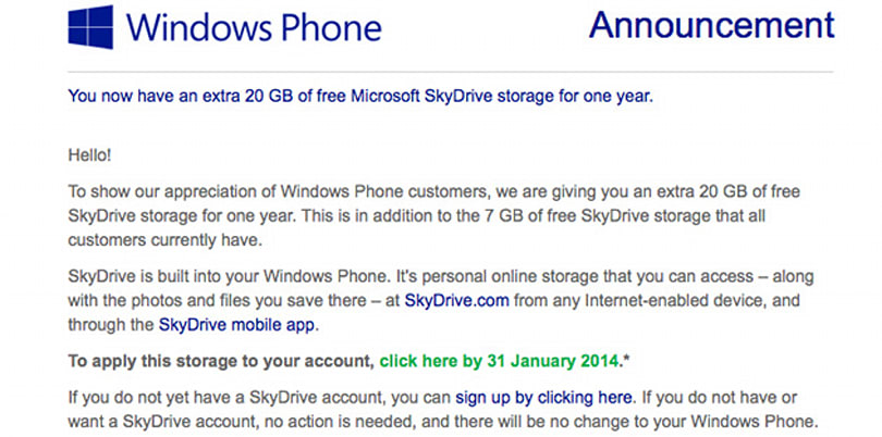Got Windows Phone? You have 20GB of bonus SkyDrive space for the next year