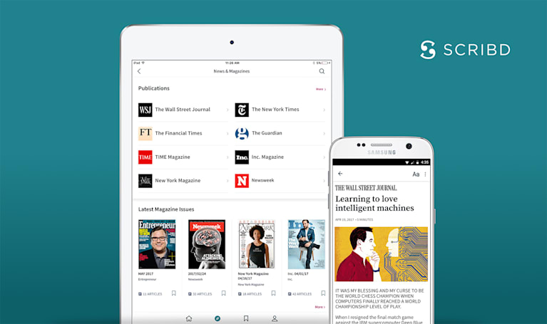 Scribd's all-you-can read service adds major newspaper articles