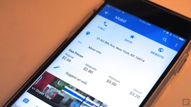 Google Maps for iOS displays gas prices along your route