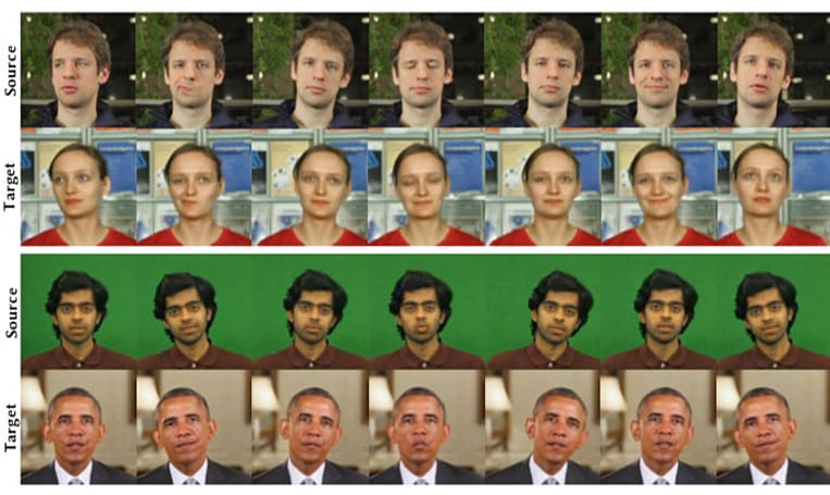 AI can transfer human facial movements from one video to another