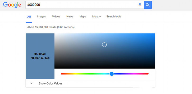 Google's search engine now converts color values