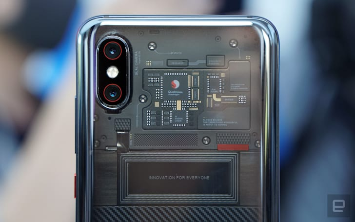 Xiaomi's transparent phone shows off a dummy circuit board