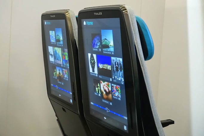The future of air travel includes giant seatback displays