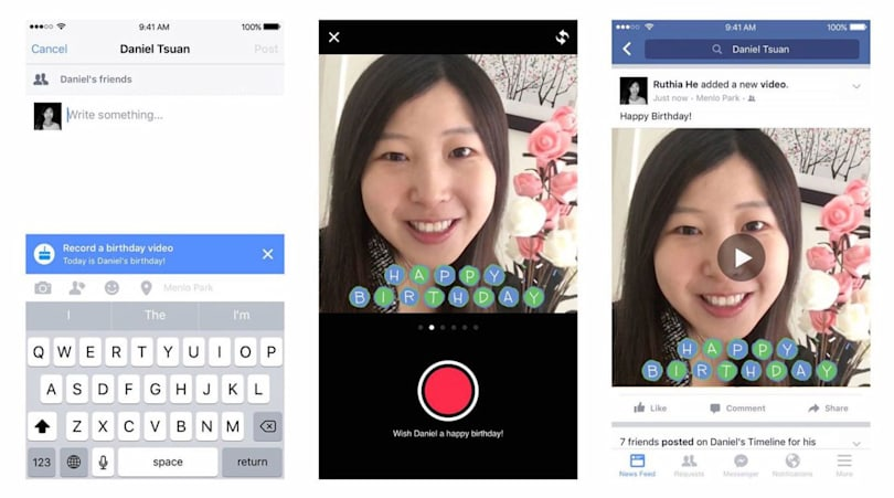 Facebook hopes you'll send birthday wishes in 15-second videos