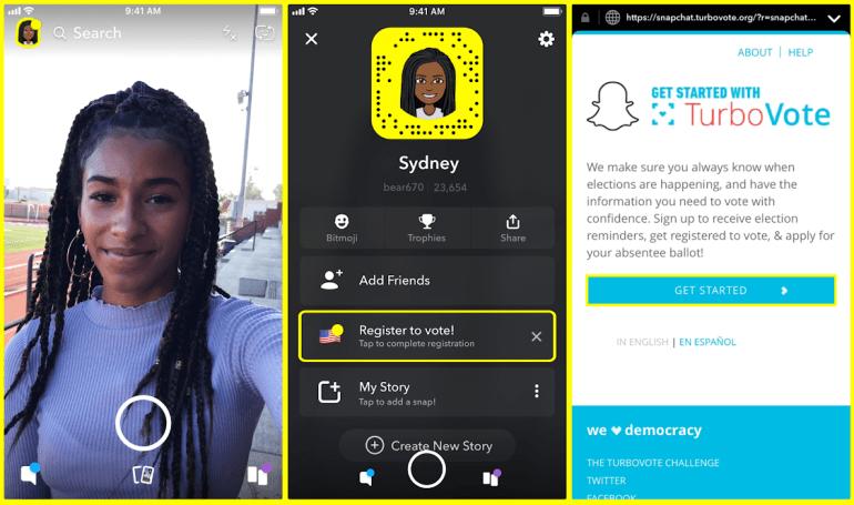 Snapchat drives voter registration inside its app