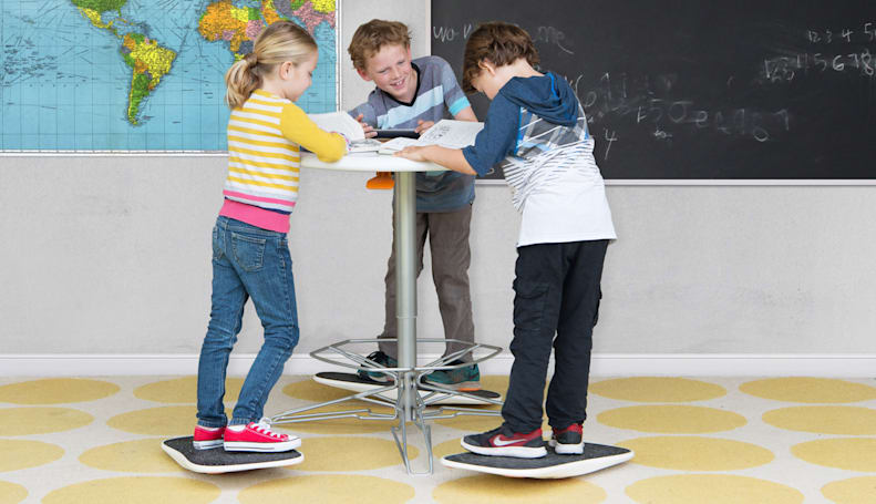 There's a standing desk and balance board for kids now