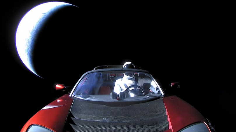 Watch Starman and its Tesla get swallowed by the darkness of space