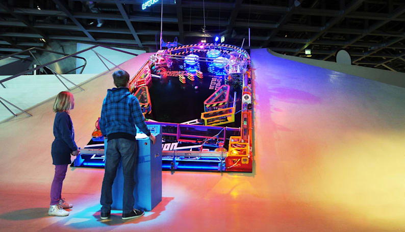 Good luck tilting this massive pinball machine