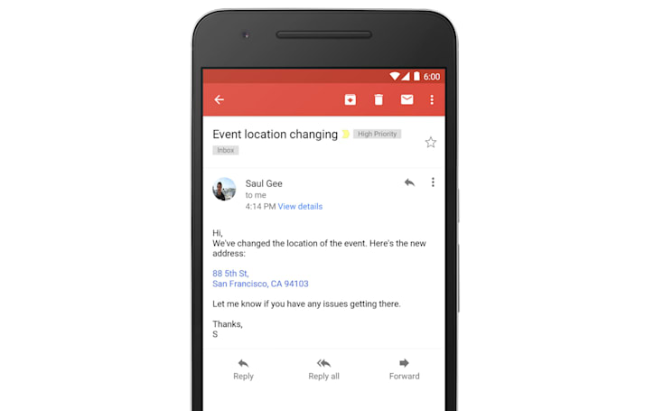 Gmail finally turns addresses and phone numbers into links