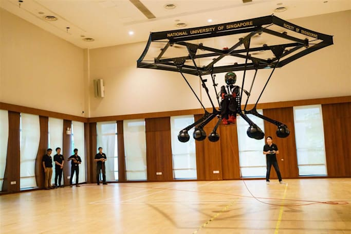 'Snowstorm' personal flying machine lifts off in Singapore