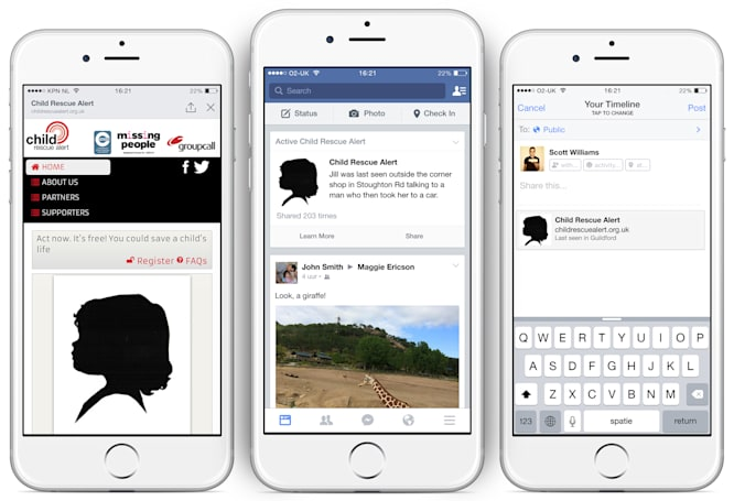 Facebook will display missing child alerts in UK News Feeds