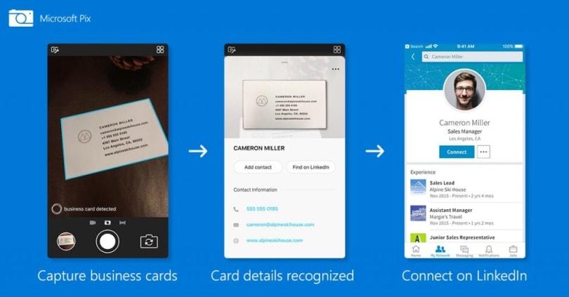 微软 Pix 可以把名片上的资料转化成为联系人资料