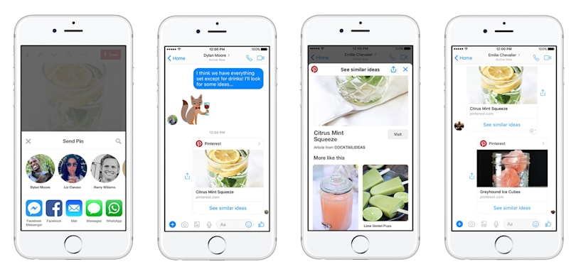 Pinterest makes it easy to share pins on Facebook Messenger