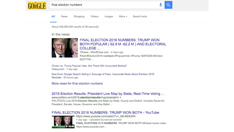 Google search for 'final election numbers' offers up fake news