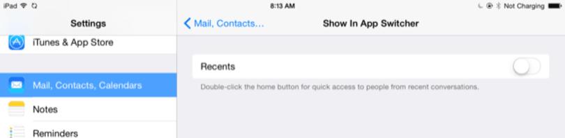 iOS 8 app switcher good. Recent contacts bad.
