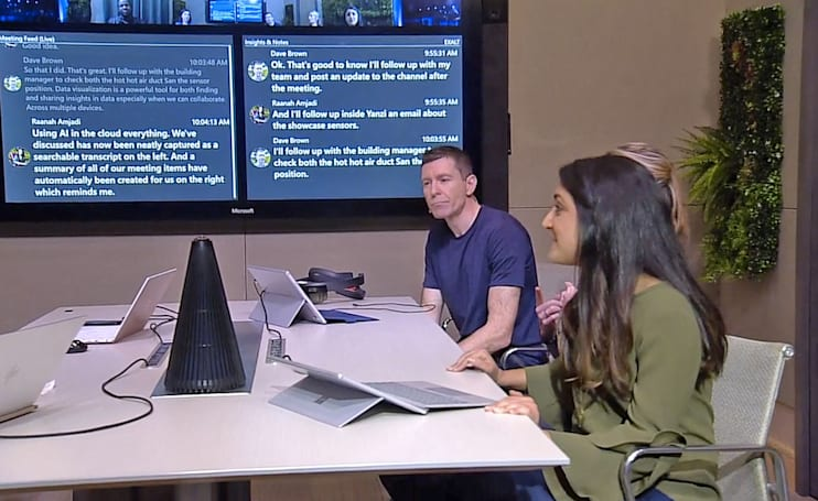 Microsoft's AI cone recognizes faces and voices during meetings