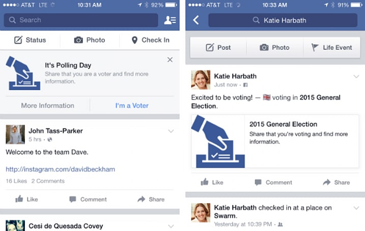 Get ready for your Facebook friends to tell you they voted