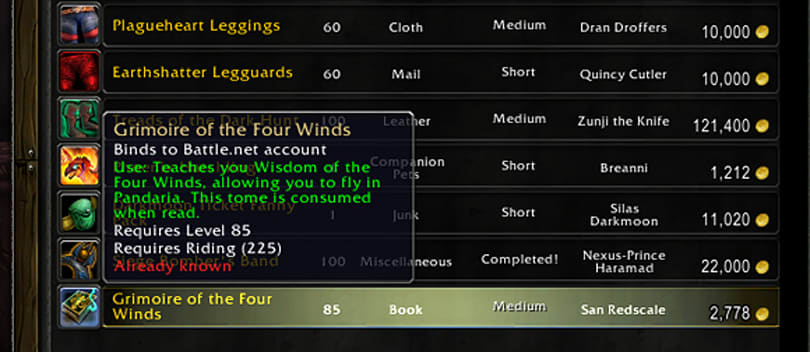 Grimoire of the Four Winds offers BoA Pandaria flying for alts