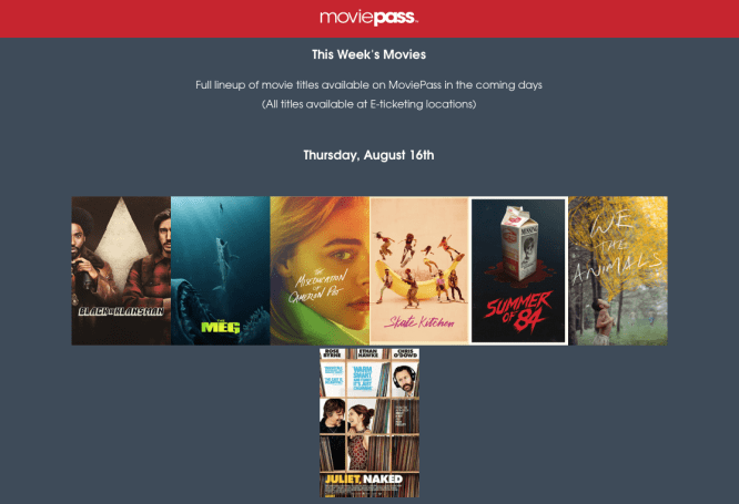 MoviePass limits customers to just six movie options per day