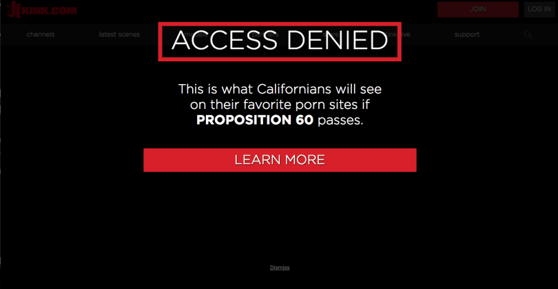 Porn sites blocked California users today to protest proposed law