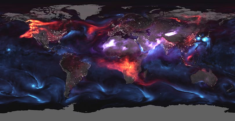 NASA's terrifying visualization of atmospheric aerosols