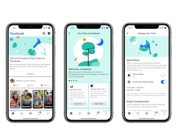 Facebook adds 'quiet mode' to help you manage screen time