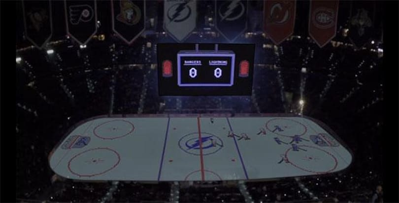 NHL team projects Nintendo-esque 'Bolts of Steel' game on ice