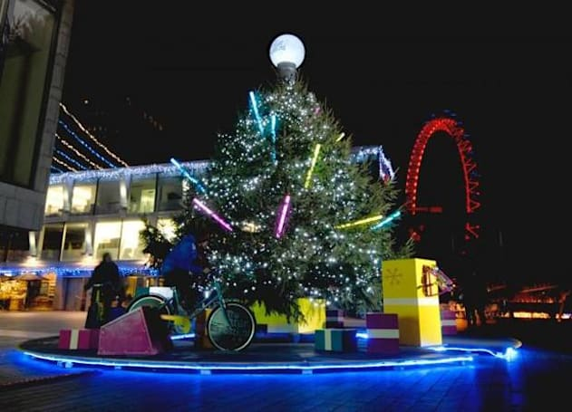 Visualized: pedal power lights Christmas trees the eco-friendly way
